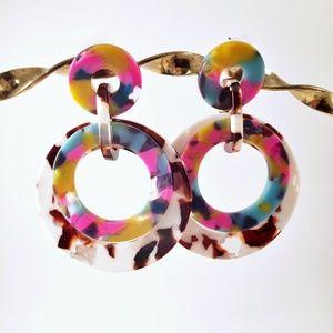 Multicolor Acrylic Circle Earrings Pierced Posts
